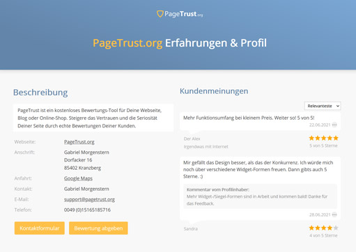 Firmenprofil mit Kunden-Feedback