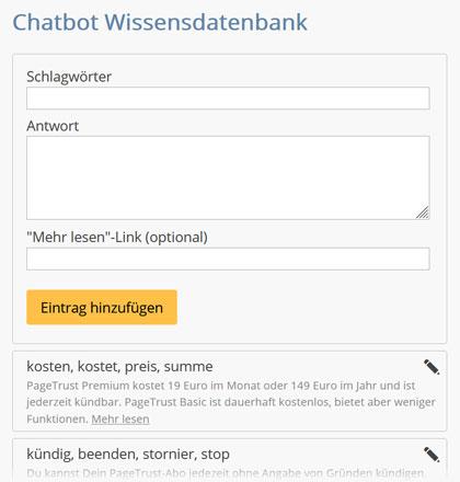 Website Chatbot einrichten per Keywords
